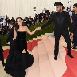 Bella Hadid and performer The Weeknd both wear Givenchy.