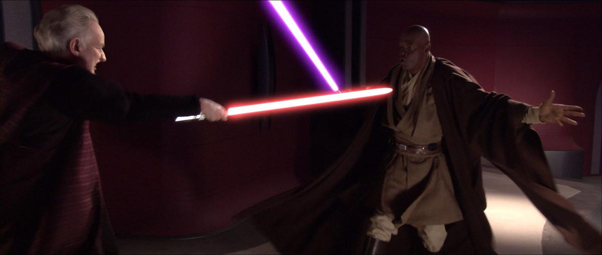palpatine duels mace windu in revenge of the sith