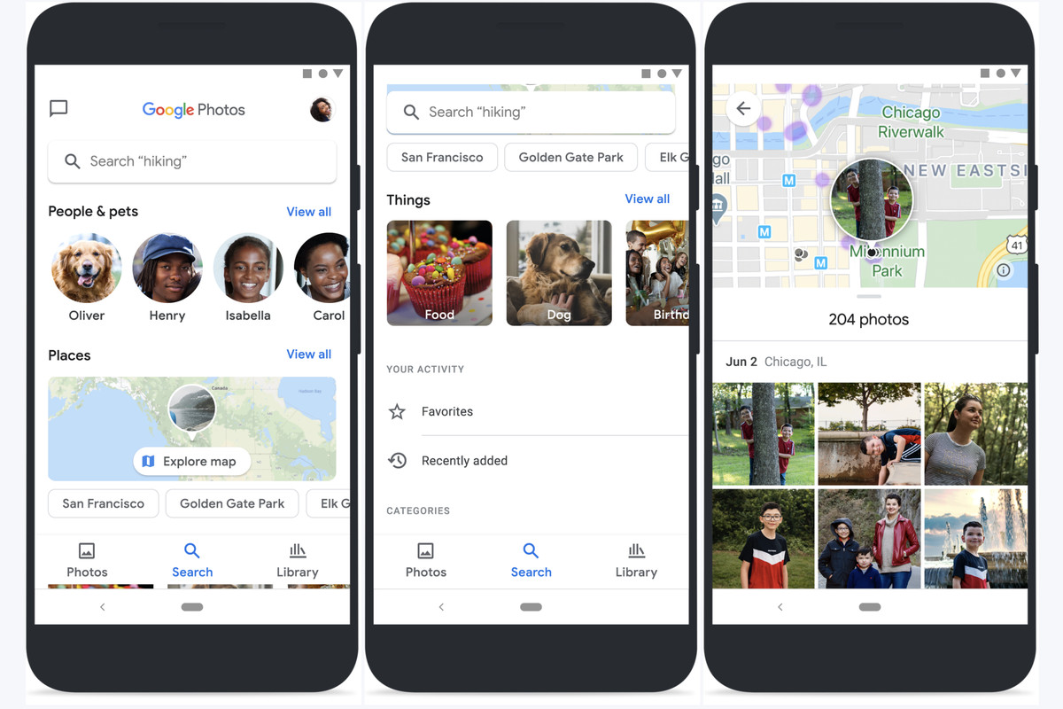 Three images demonstrating the new search interface in Google Photos for iOS and Android.