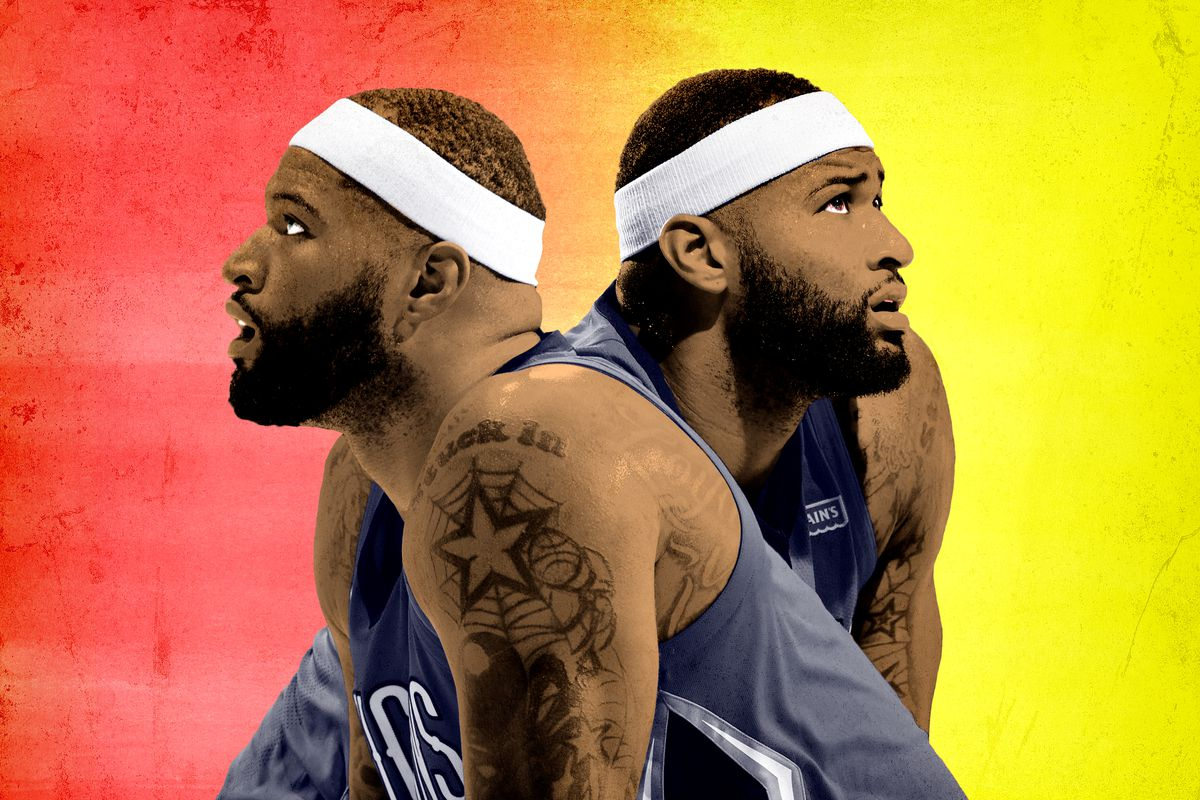 Two identical images of DeMarcus Cousins facing back-to-back