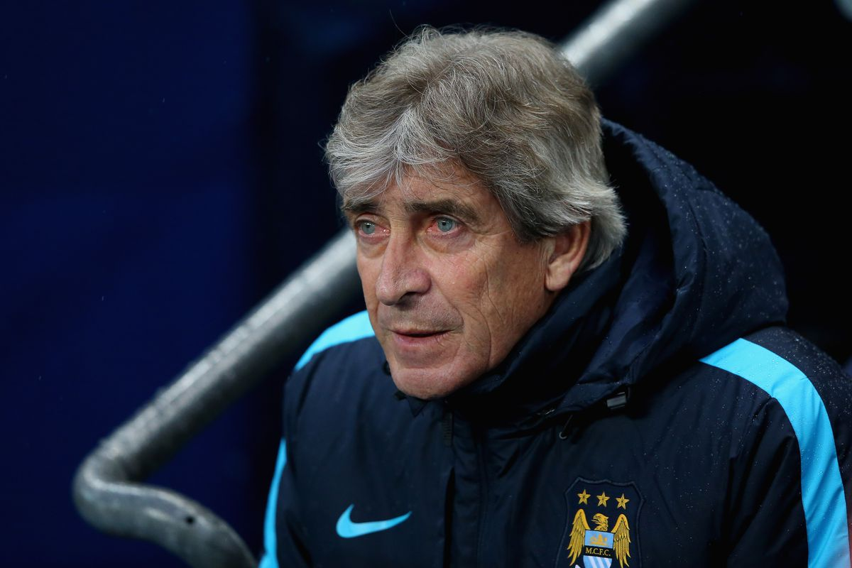 Manuel Pellegrini, manager of Manchester City looks on prior to the Barclays Premier League match between Manchester City and Southampton at the Etihad Stadium on November 28, 2015 in Manchester, England.