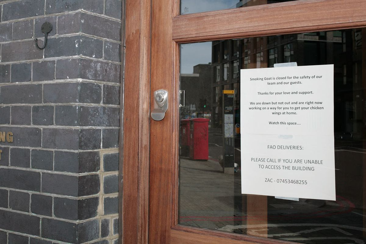 Smoking Goat Thai restaurant in Shoreditch, east London, closed because of the covid-19 pandemic, which has hit London restaurants hard