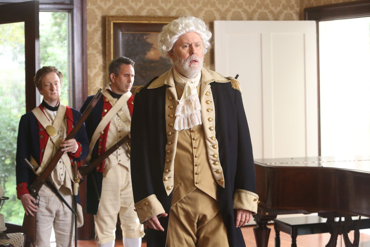 John Lithgow plays George Washington in an episode of Drunk History.