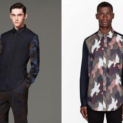 "Camo panelling. Right: Navy camo-paneled shirt, <a href=""http://www.ssense.com/men/product/31_phillip_lim/navy_camouflage-paneled_shirt/77867?utm_source=2178999&utm_medium=affiliate&utm_campaign=generic&utm_term=11131143"">$295</a> at SSENSE"
