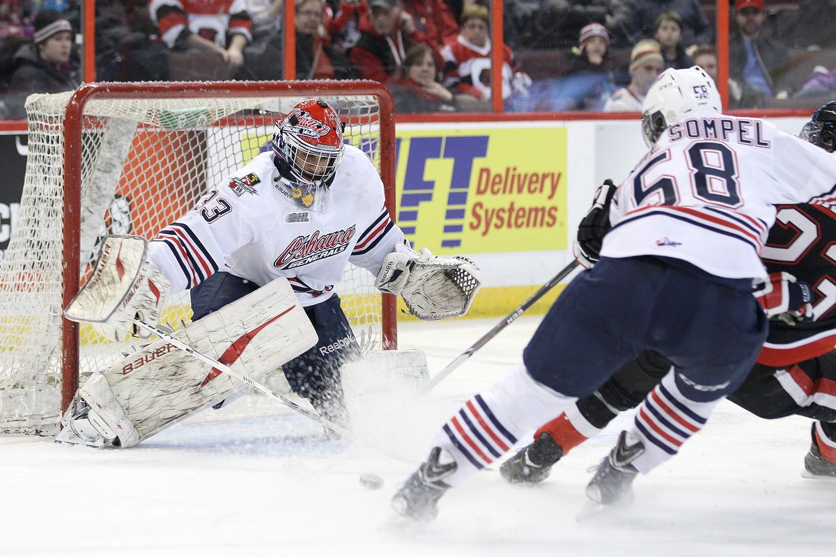 Daniel Altshuller of the Oshawa Generals makes a save against the Ottawa 67's