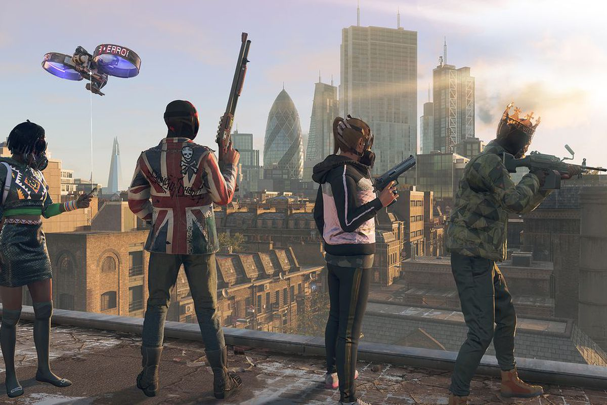 four outlaws in garish costumes atop a building in London for Watch Dogs Legion