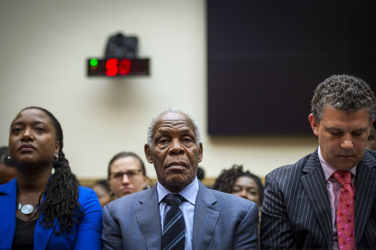 Actor and activist Danny Glover waits to testify at a congressional hearing on reparations on June 19, 2019.