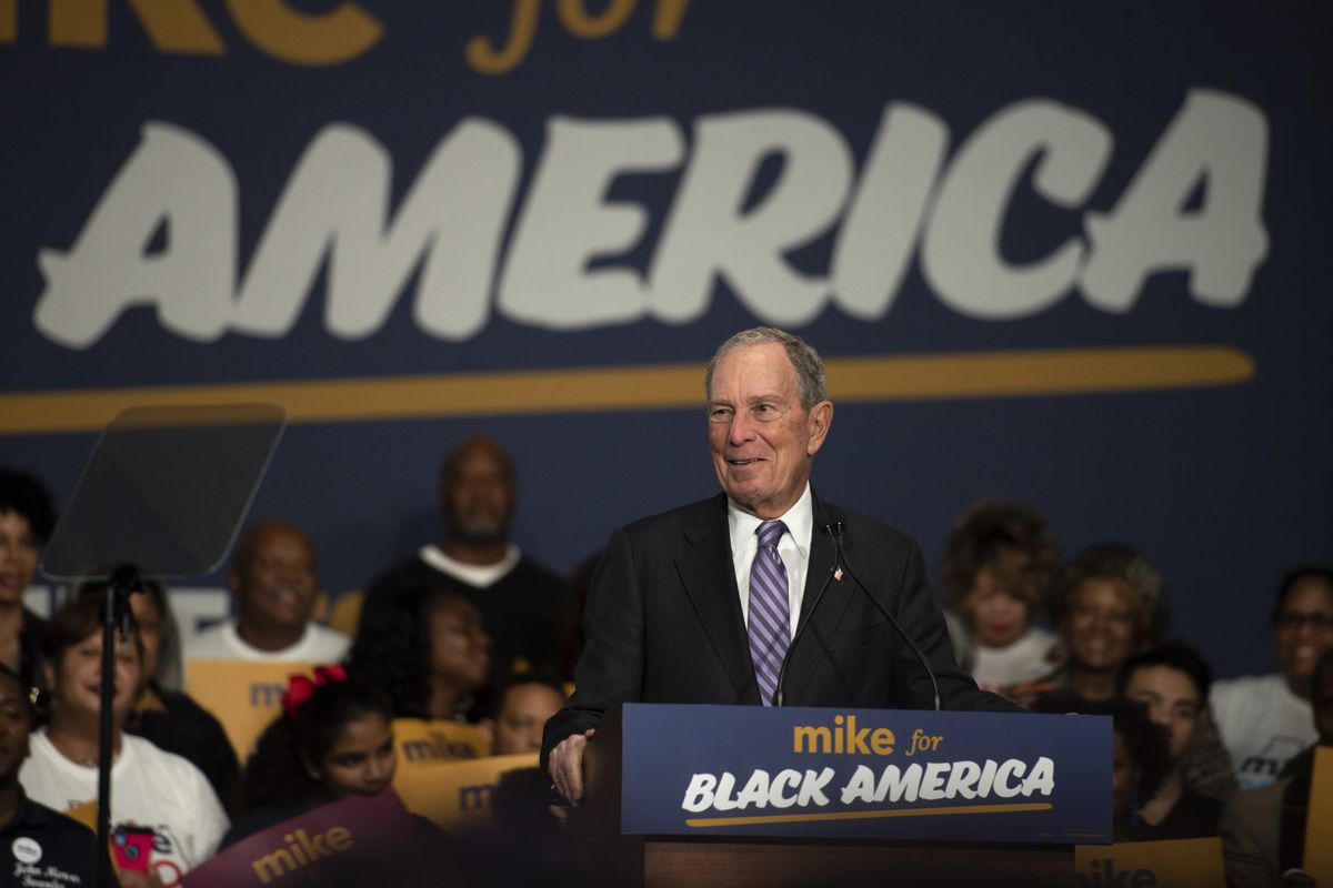 """HOUSTON, TX - FEBRUARY 13: Democratic presidential candidate Mike Bloomberg speaks to the crowd on February 13, 2020 in Houston, Texas. The former New York City mayor launched """"Mike for Black America,"""" an effort to focus on key issues relating to black Americans on his fifth campaign trip to Texas.  (Photo by Callaghan O'Hare/Getty Images)"""