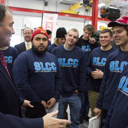 Gov. Gary Herbert visits with some of the first students to be accepted in the new Utah Diesel Technician Pathways program at the Cummins Rocky Mountain facility in West Valley City on Tuesday, Feb. 2, 2016. The program will grant students an internship at one of the industry partners upon graduation.