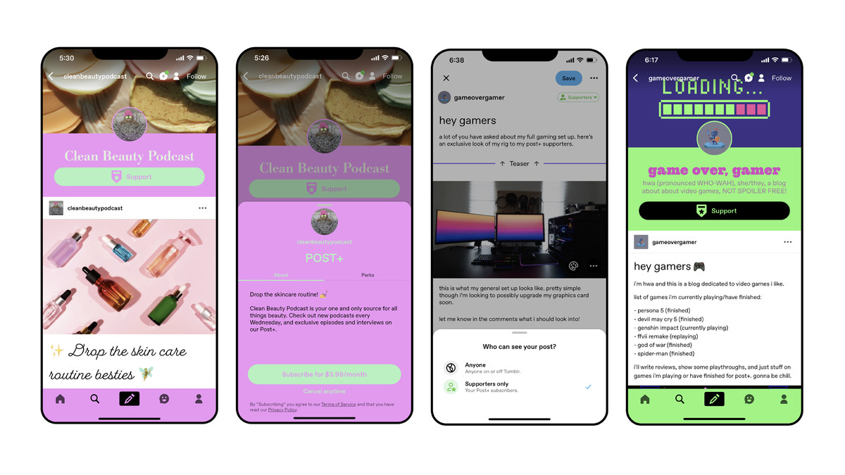 Four Tumblr app screenshots showing examples of blogs for beauty tips and gaming. One shows the sign-up page for subscriptions, another shows a post being created, with options to set it for everyone or supporters only.