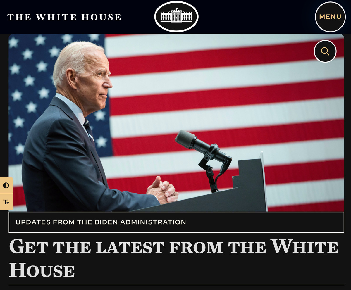The White House site showing with a dark background, large buttons and text