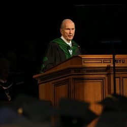 President Russell M. Nelson speaks at commencement exercises at Brigham Young University in Provo on Thursday, Aug. 13, 2015.