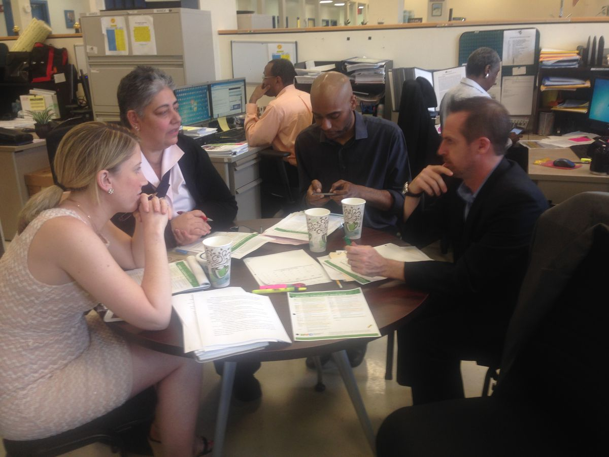 The four principals of the Richard R. Green campus met this year to set their school budgets together.