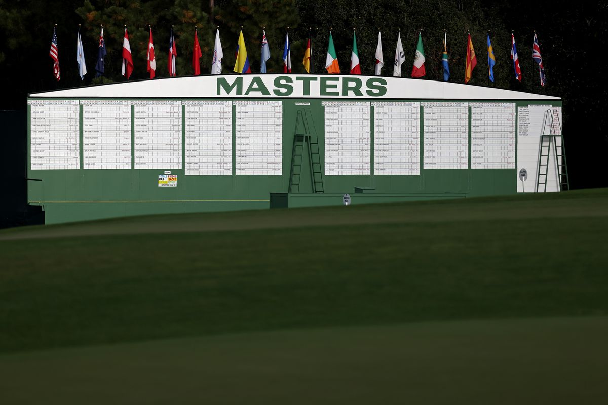 A view of the scoreboard on the first hole during a practice round prior to the Masters at Augusta National Golf Club on November 09, 2020 in Augusta, Georgia.