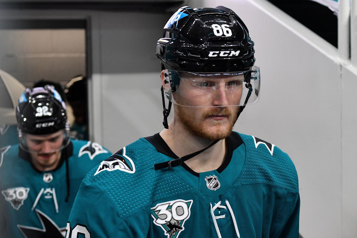 Joachim Blichfeld #86 of the San Jose Sharks takes the ice for warmups against the Colorado Avalanche at SAP Center on March 3, 2021 in San Jose, California.