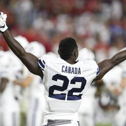 BYU running back Squally Canada (22) during the second half of an NCAA college football game against Arizona, Saturday, Sept. 3, 2016, in Phoenix. BYU defeated Arizona 18-16. (AP Photo/Rick Scuteri)