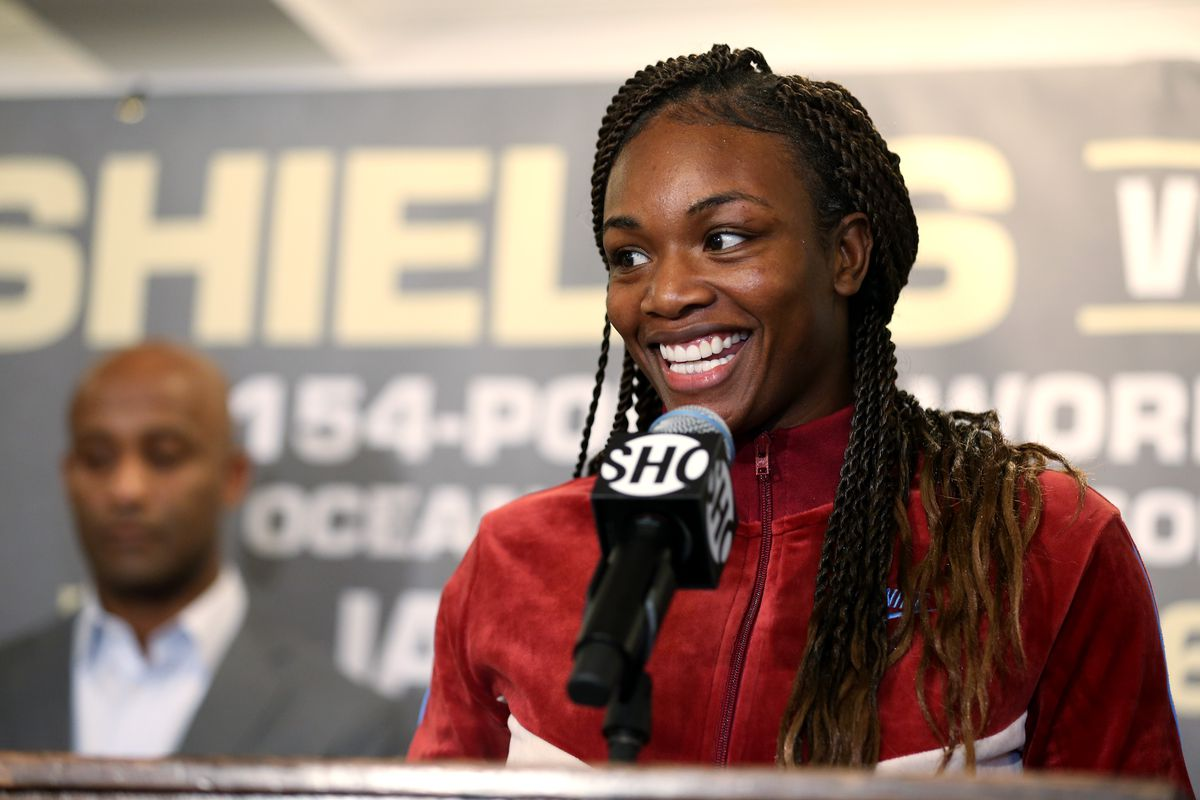 Claressa Shields speaks during a press conference with Ivana Habazin at Hotel Plaza Athenee prior to their January 11th, 2020.