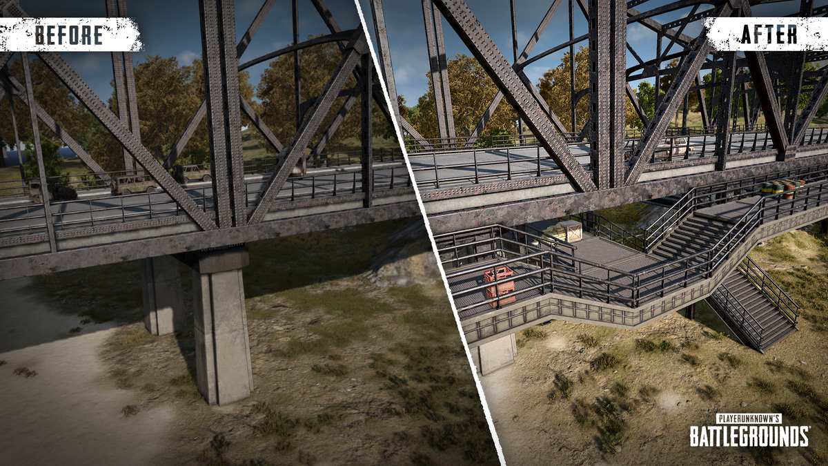 The updated version of PUBG's Erangel bridges