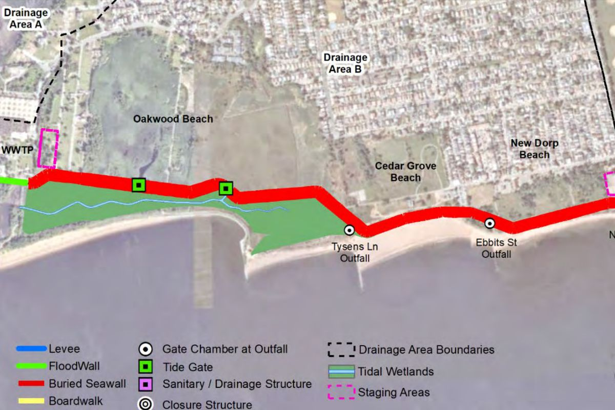 A U.S. Army Corp of Engineers shows where a seawall would protect east shore neighborhoods on Staten Island.
