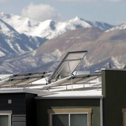 Solar panels line the roof tops at Garbett Homes in South Jordan on Tuesday, March 12, 2013.
