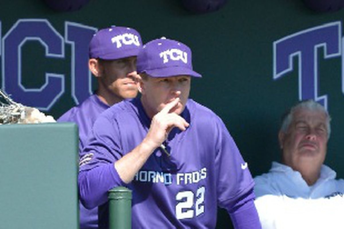 Jim Schlossnagle will try to lead the Horned Frogs to their first win this season on Sunday.