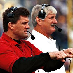After coaching for two years at Idaho State University, Kyle Whittingham, left, came  to the University of Utah to coach under his father, Fred Whittingham, right.