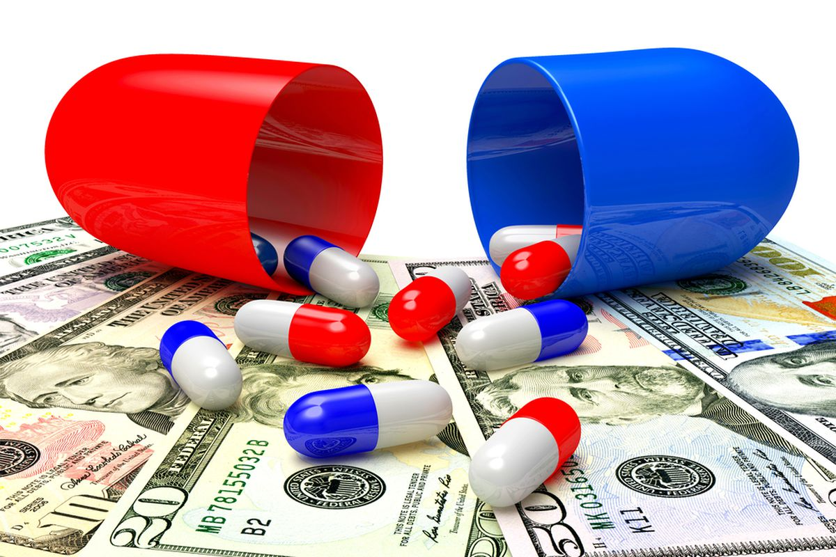 """America leads the world in """"expensive pill"""" stock art."""