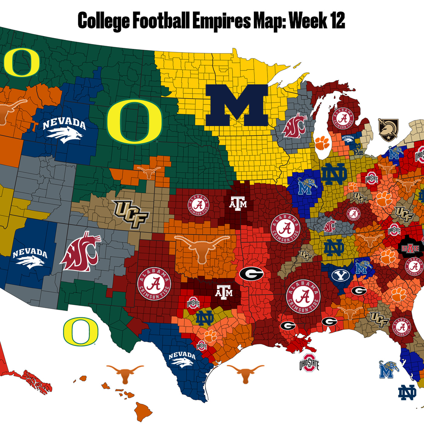 College Football Empires Map: Texas is suddenly top 5 - SBNation.com