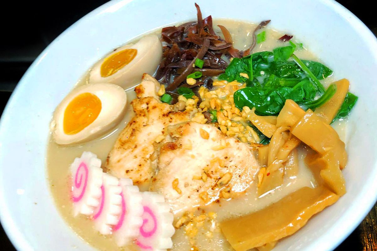 A ramen dish prepared with a 24-hour broth, now available at Shokku Ramen in Chinatown.