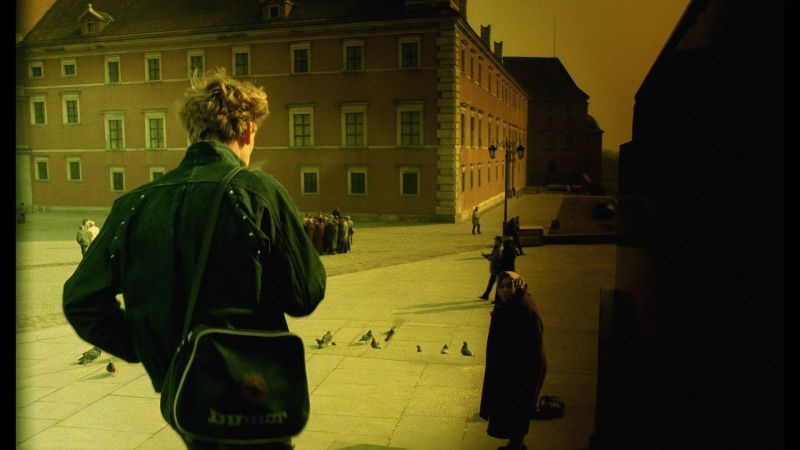 A man holding a camera looks onto a plaza where pigeons stand.