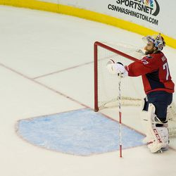 Holtby Looks at Bench From Net