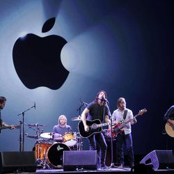 The Foo Fighters perform during an Apple event in San Francisco, Wednesday, Sept. 12, 2012.