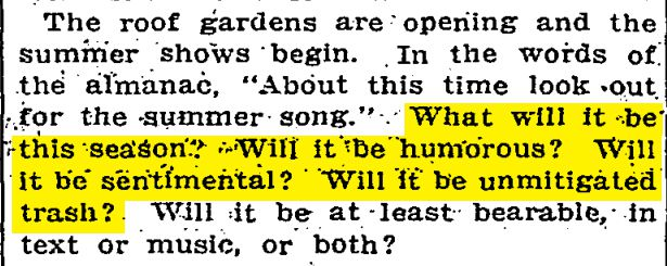 The song of summer —in 1910.