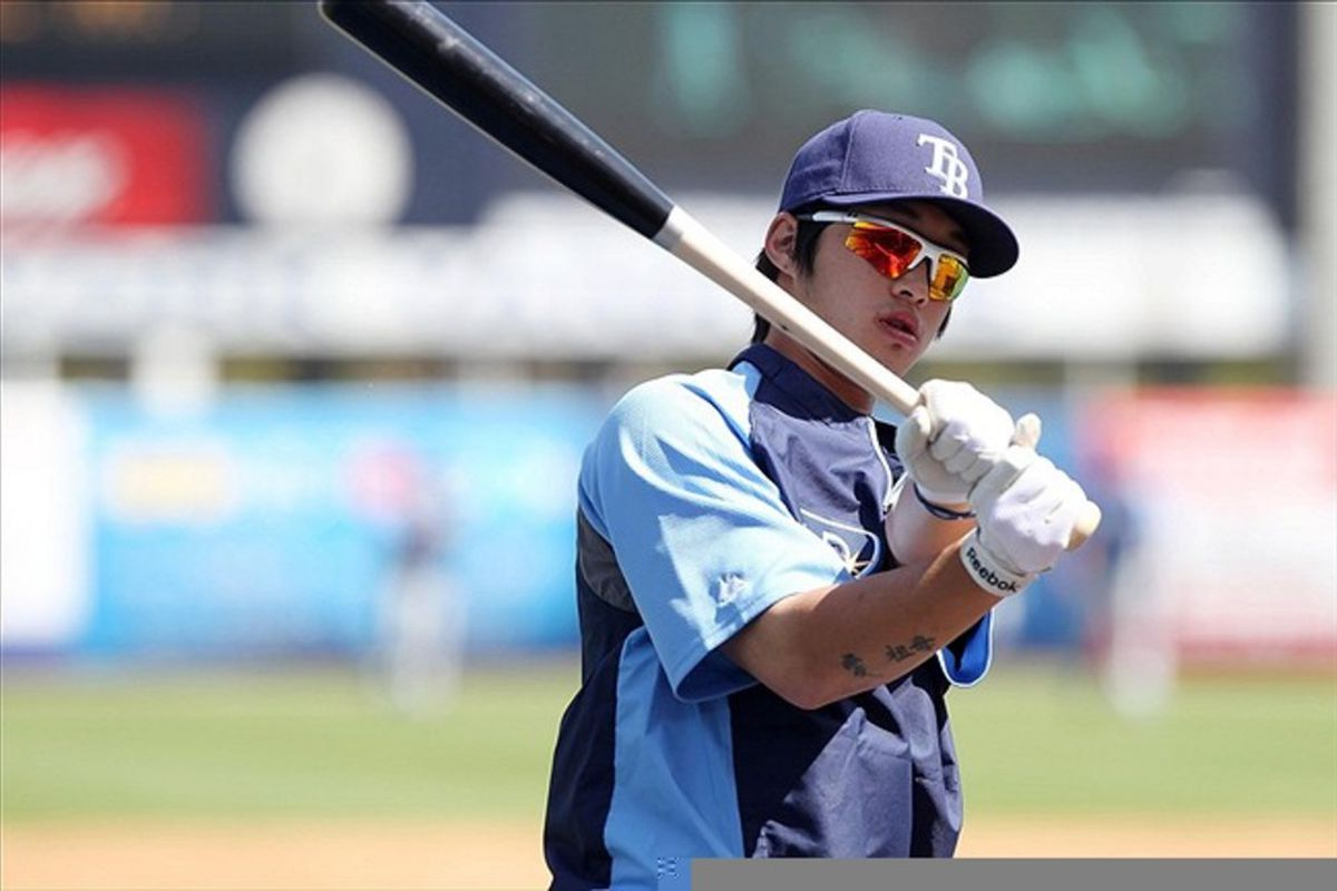 March 7, 2012; Tampa, FL, USA; Tampa Bay Rays infielder Hak-Ju Lee (66) prior to the game against the New York Yankees during spring training at George M. Steinbrenner Field. Mandatory Credit: Kim Klement-US PRESSWIRE