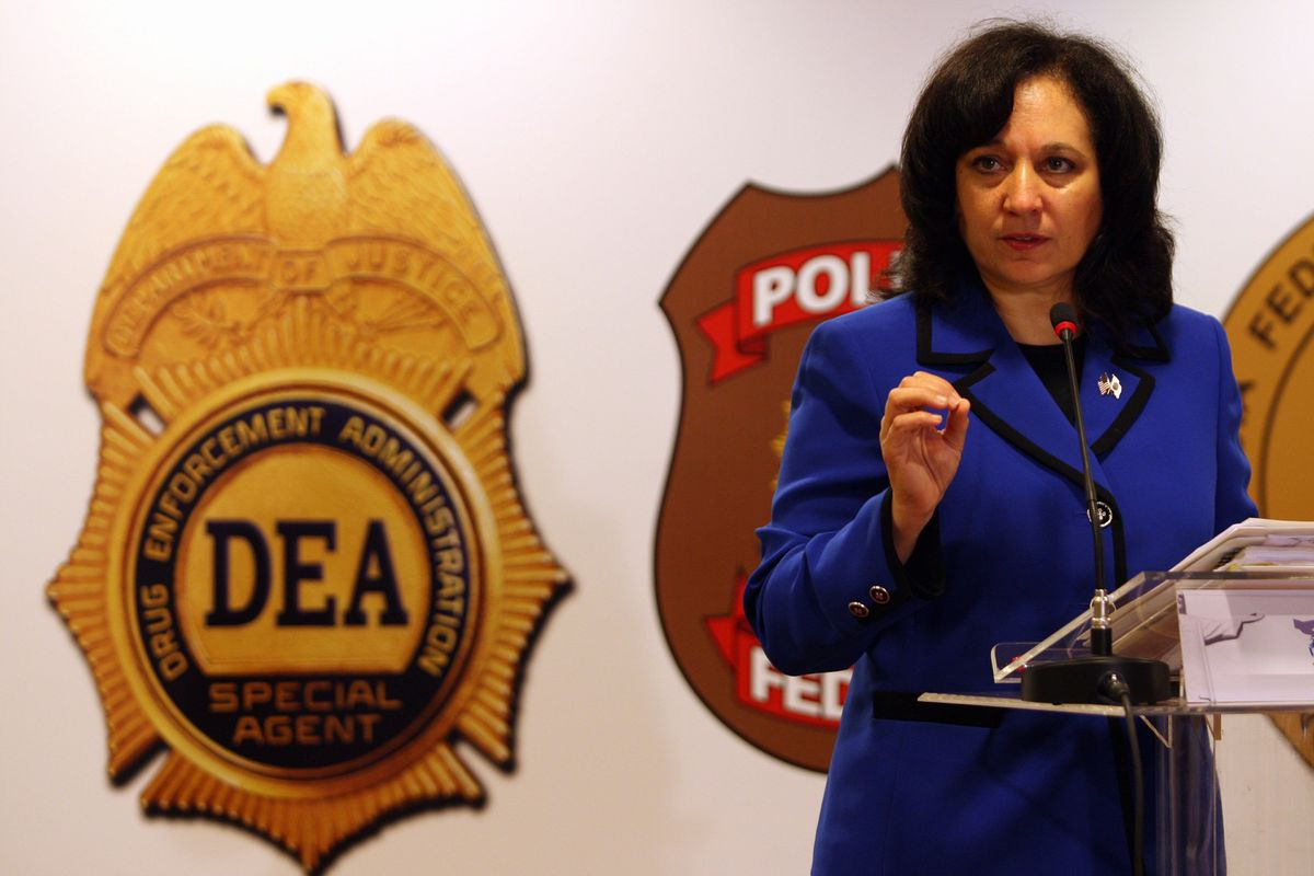 DEA Administrator Michele Leonhart speaks at a conference.