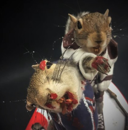 Here are two dead, stuffed, bloody squirrels in a hockey