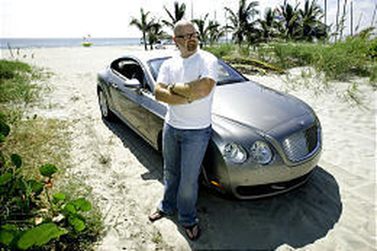 Steve Sims, leaning against his Bentley on Delray Beach in Delray, Fla., owns Bluefish, a luxury concierge firm that can put you in a fighter jet, at the Grand Prix, among the sharks in the sea, or at the Oscars.