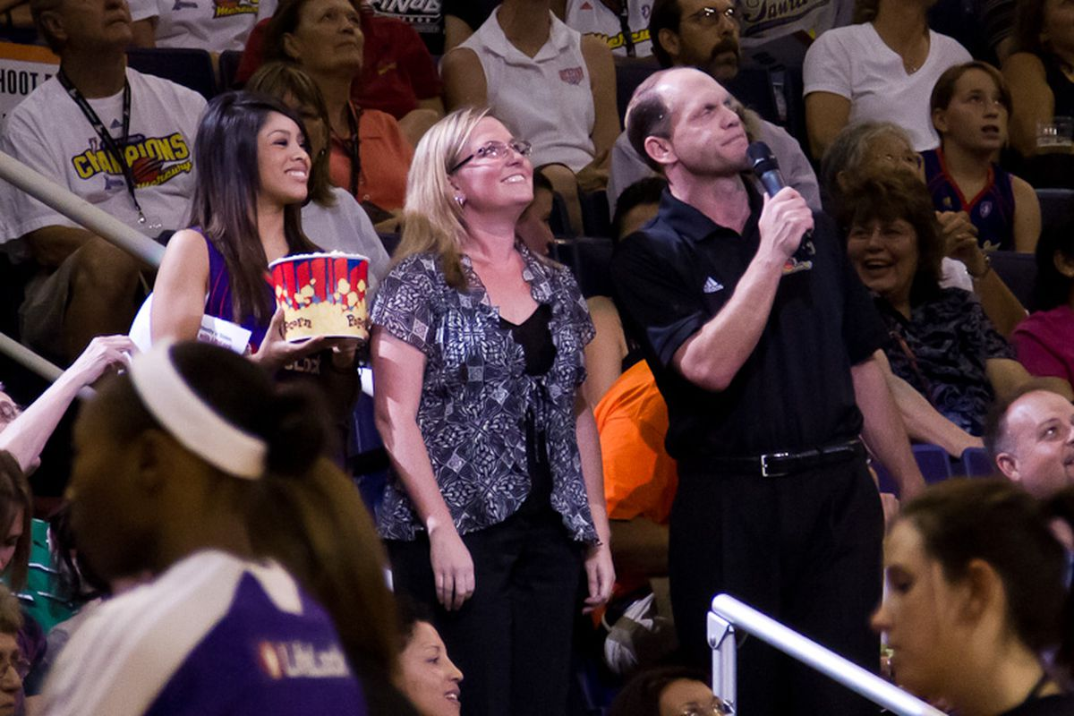 Kip Helt In Action at a recent Phoenix Mercury game. (Photo by Ryan Malone)