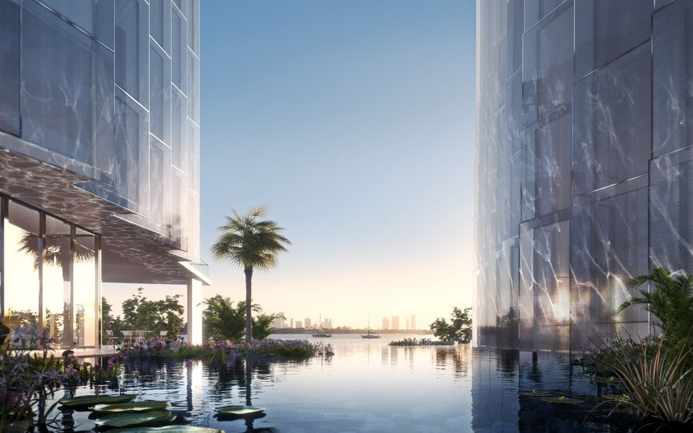 A lagoon at the heart of miami beach development