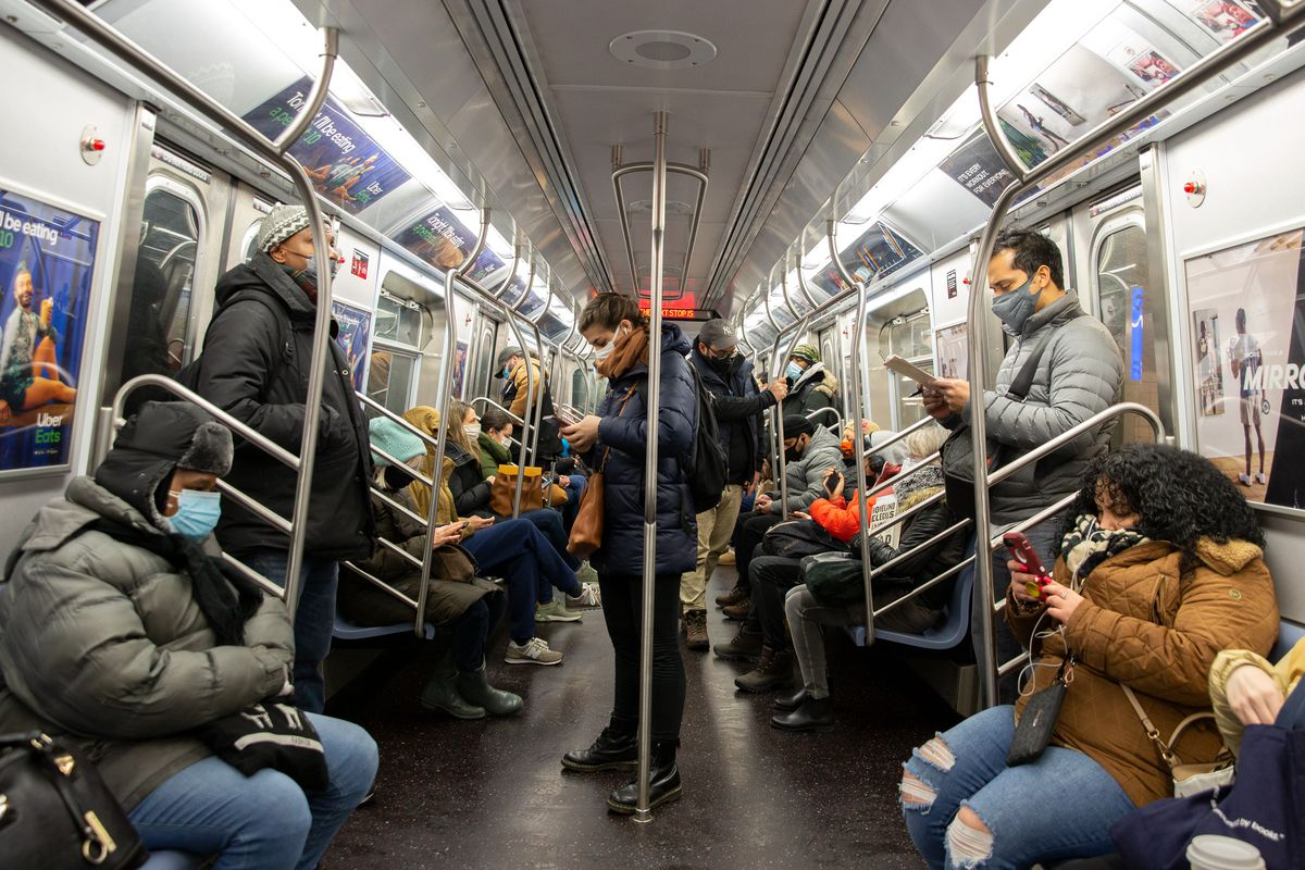 The Tuesday morning commute on a C train, Feb. 23, 2021.