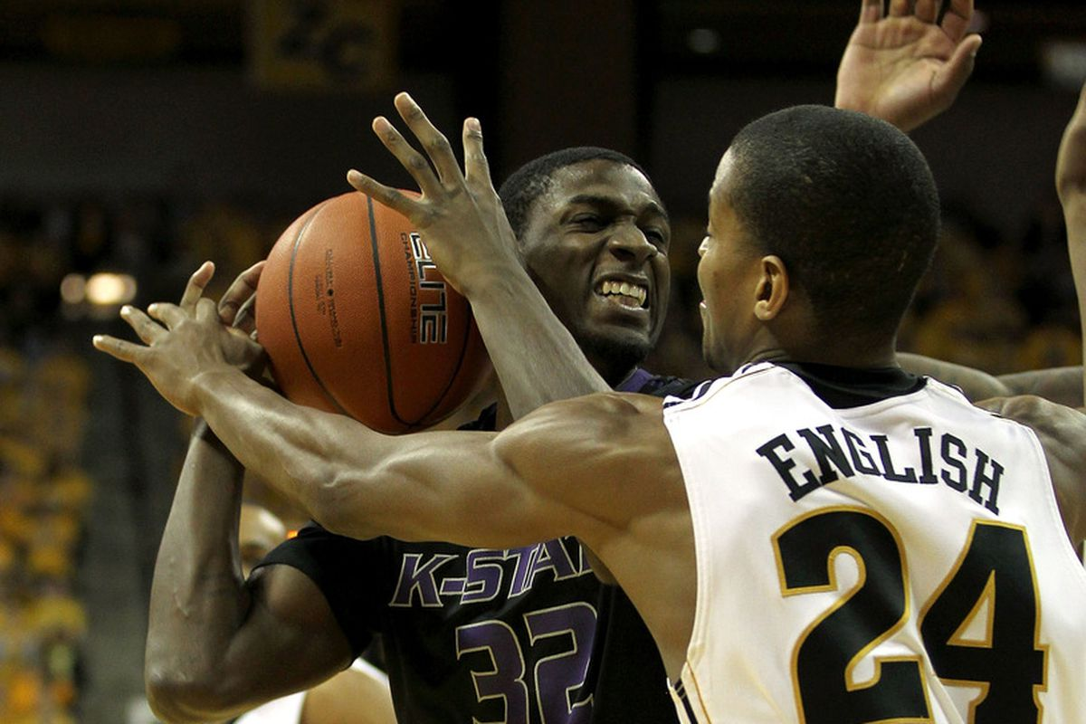 COLUMBIA, MO - FEBRUARY 21:  Jamar Samuels #32 of the Kansas State Wildcats battles Kim English #24 of the Missouri Tigers for a rebound during the game on February 21, 2012 at Mizzou Arena in Columbia, Missouri.  (Photo by Jamie Squire/Getty Images)