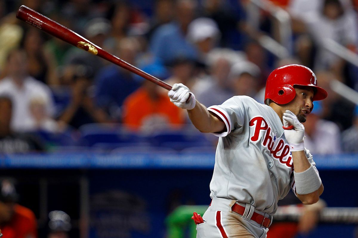MIAMI, FL - JULY 01: Shane Victorino #8 of the Philadelphia Phillies hits during a game against the Miami Marlins at Marlins Park on July 1, 2012 in Miami, Florida. The Marlins defeated the Phillies 5-2.  (Photo by Sarah Glenn/Getty Images)