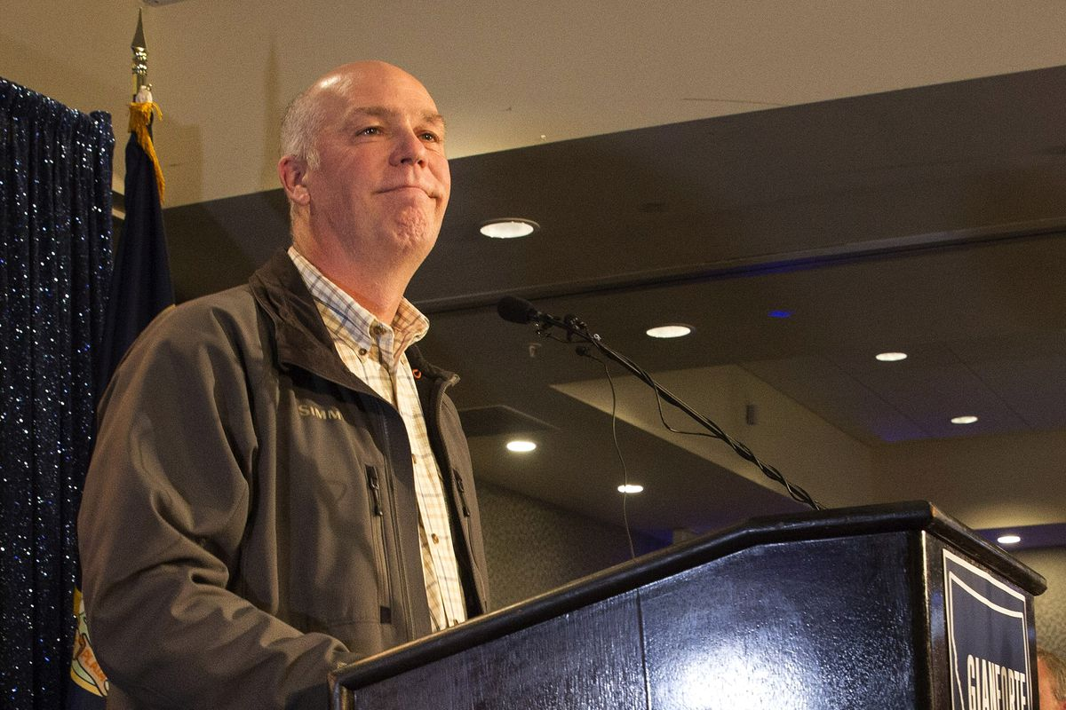"""Rep. Greg Gianforte (R-MT), sharing """"something from my heart"""" at his victory party last night."""