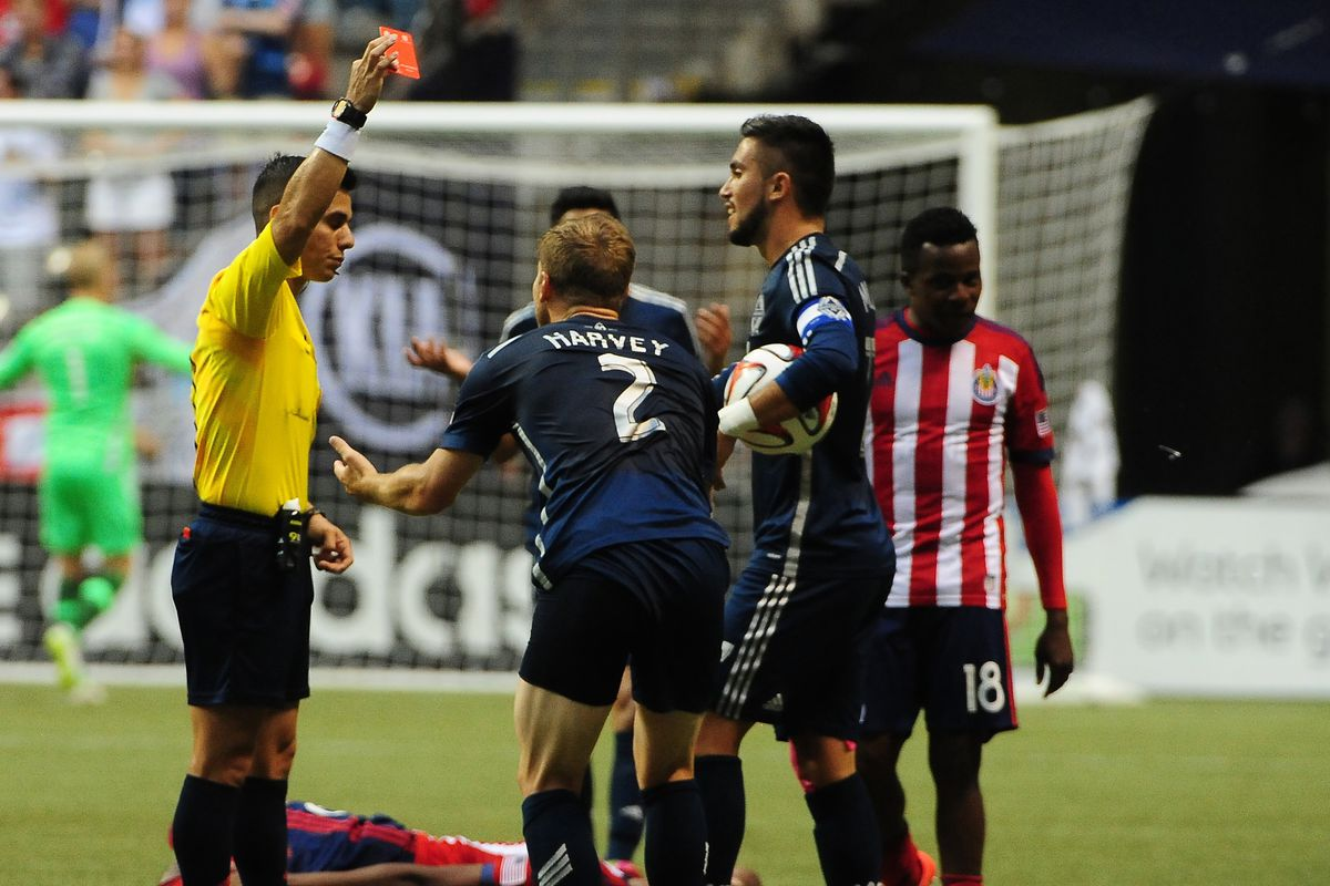 Jordan Harvey's straight red contributed heavily to the Vancouver Whitecaps' first loss at home since early April.