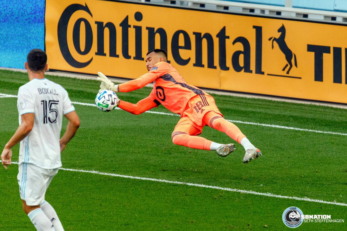August 21, 2020 - Saint Paul, Minnesota, United States - Minnesota United goalkeeper Gregory Ranjitsingh (18) makes a save during the match against Sporting KC at Allianz Field.