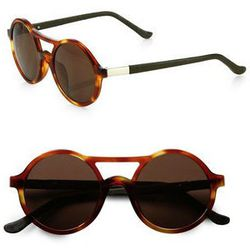 """<strong>The Row</strong> Round Tortoiseshell Acetate Sunglasses, <a href=""""http://www.saksfifthavenue.com/main/ProductDetail.jsp?FOLDER%3C%3Efolder_id=2534374306418050&PRODUCT%3C%3Eprd_id=845524446578482&R=410761866829&P_name=The+Row&N=4294908372+306418050"""