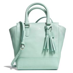 "<b>Coach</b> Legacy Leather Mini Tanner in mint, <a href=""http://www.coach.com/online/handbags/-handbags_feature_legacy-us-us-5000000000000305805-en?t1Id=62&t2Id=5000000000000305805&tier=2&LOC=LN#120136"">$258</a>"