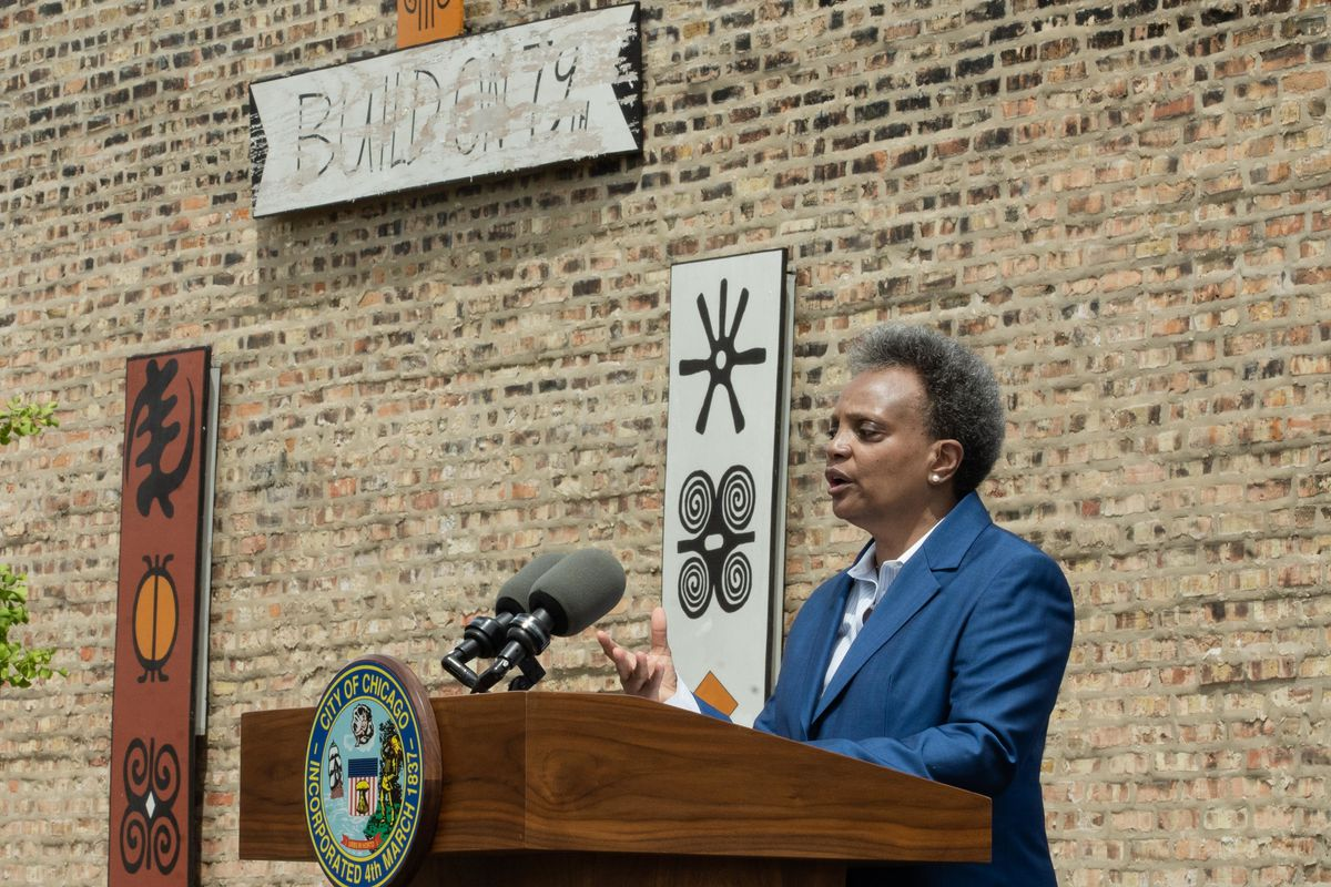 Chicago Mayor Lori Lightfoot speaks during a press conference Thursday, May 20, 2021 near 79th and Halsted streets in the Auburn Gresham neighborhood.