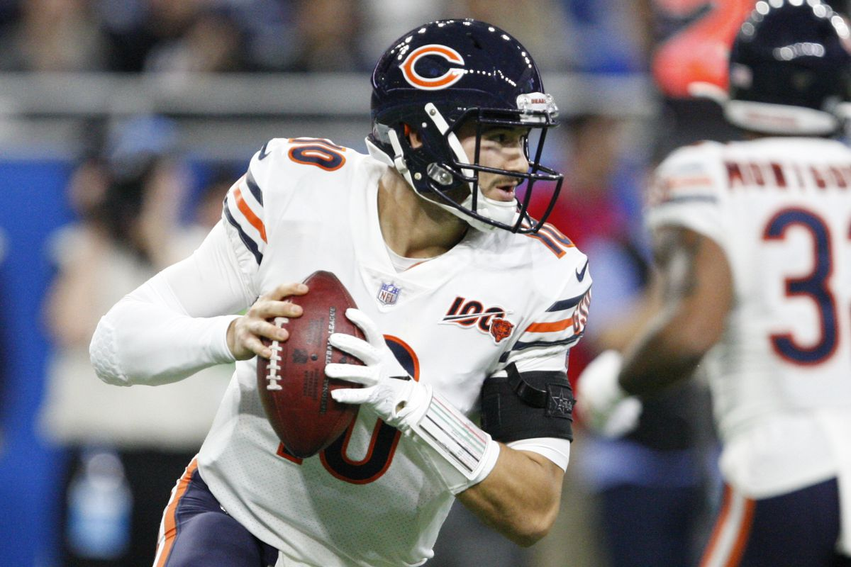Chicago Bears quarterback Mitchell Trubisky looks for an open man during the second quarter against the Detroit Lions at Ford Field.