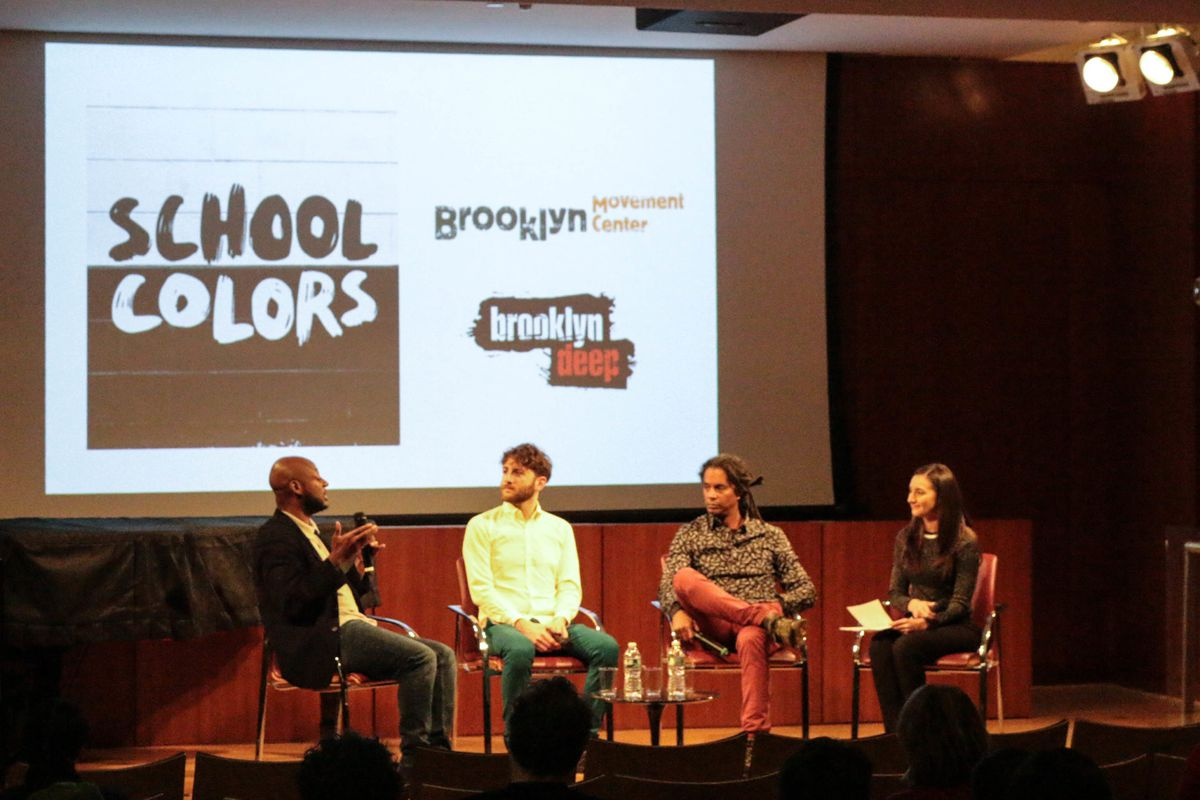 NeQuan McLean, Max Freedman, Mark Winston Griffith and Christina Veiga discuss School Colors at the Brooklyn Public Library on Dec. 17, 2019.